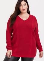 Torrid Women's Plus Size Long Sleeve Red Cable Knit Tunic Sweater V-Neck 0 NWT