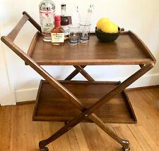 Mid Century Modern Folding Wooden Walnut/Teak Rolling Bar Tea Cart Trolley