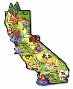 California Artwood State Magnet, Classic Magnets Collectible Souvenirs