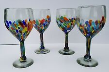 WINE GLASSES CONFETTI HAND BLOWN SET OF 4