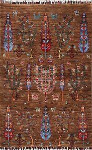 Vegetable Dye Geometric Super Kazak Oriental Area Rug Hand-knotted Tribal 3'x4'