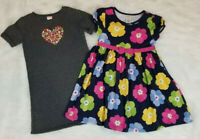 Gymboree (Lot of 2) Girls Size 5T Dresses Gray Knit & Navy Floral 100% Cotton Ex