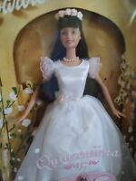New 2000 Quinceanera 15 Barbie Doll in White Dress with Roses-Damaged Box