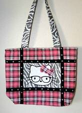 """NWT"" Hip Punk Rock Kitty Cat Pink & Gray Plaid Rockabilly Large Tote Bag Purse"