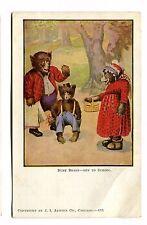 Vintage Postcard Busy Bears Off To School Ji Austen Anthropomorphic Dressed Udb