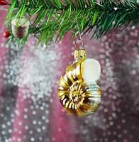 goldene Schnecke, Fosil 6cm Weihnachtbaumschmuck, Christbaumschmuck Lauscha 53D2