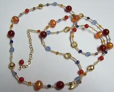 Colorful Carnelian & More Beaded Necklace w/ Gold Filled Catch
