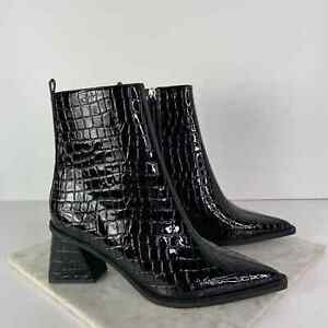 New Topshop Ankle Boots Black Croc Embossed Leather Size 37