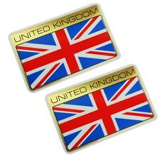 England UK United Kingdom Flag Sticker Emblem Set Golden Self Adhesive