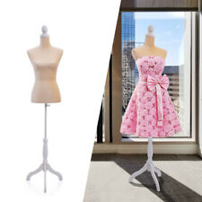 Female Mannequin Torso Clothing Dress Form Shop Display w/White Tripod Stand