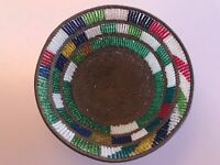VINTAGE TIGHTLY WOVEN COPPER WIRE AFRICAN BEADED BASKET GREEN RED BLUE WHITE ART