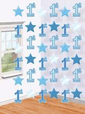 6 x 7ft Boys 1st First Birthday Blue Hanging String Banner Party Decorations