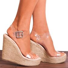 CLEAR PERSPEX CANVAS ESPADRILLES WEDGED PLATFORMS WEDGES STRAPPY SANDALS SIZE