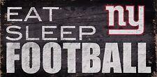 "NY New York Giants Eat Sleep Football Wood Sign - NEW 12"" x 6""  Decoration Gift"