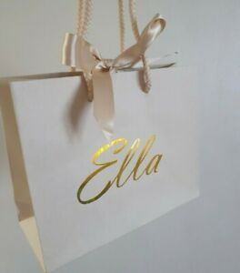 Small 16cm X 20cm Personalised Ivory Gift Bag Any Name Birthday Gift Wrap