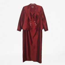 Michaelangelo Maxi Long Dress Red Cocktail w/ Jacket Rhinestone Closure Size 16