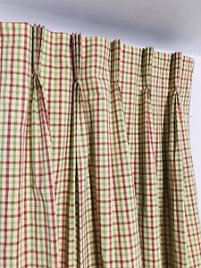 """Custom Pinch-Pleat Lined Draperies Curtains Green/Yellow/Red Plaid 86""""L"""