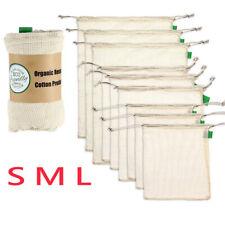 Premium Organic Cotton Mesh Produce Bags Reusable Washable Storage Drawstring