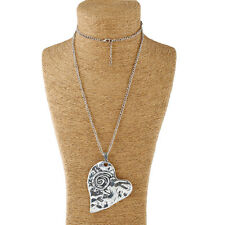 Large abstract metal spiral heart pendant & long chain necklace silver lagenlook