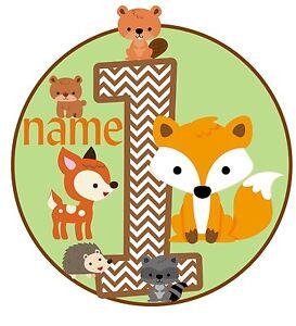 Iron on Transfer PERSONALISED BIRTHDAY ANY NAME & NUMEBR WOODLAND FOX ANIMALS