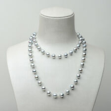 Silver Japanese Akoya Pearl Long Strand Necklace 18k White Gold Adjustable Au750