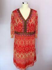 BNWT SAVOIR RED BEADED & SEQUINNED TRIM PRINT DRESS SIZE 18