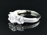 Ladies Sterling Silver Tri-Stone Solitaire Lab Diamond Bridal Engagement Ring