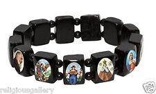 Saint Bead Bracelet, Black Wood Stretch Elastic Religious Catholic Icon Gift