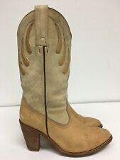 Vtg 80s Frye Western Boots Blonde Tan Leather Womens Cowboy Size 10