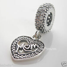 MUM~MOM HEART DANGLE 100% Authentic PANDORA Silver with Cubic CZ Charm/Bead NEW