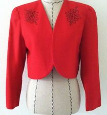Vintage Leslie Fay women red jacket red black embroidery crop size 8 petite wool