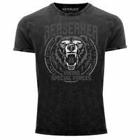Herren Vintage Shirt Berserker Bär Viking Runen nordische Mythologie Printshirt