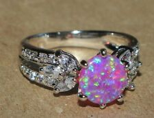 fire opal Cz ring gemstone silver jewelry 6 chic engagement cocktail band H67
