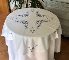 Antik Tischdecke 86 x 81 Weiß blau Baumwolle Stickerei Hardanger Hohlsaum