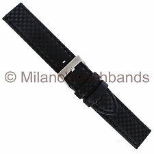20mm Hadley Roma Carbon Fiber Black Same Color Stitch Padded Mens Watch Band 847