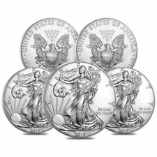 (5) - 2018 1 OZ. SILVER EAGLE $1 COINS - BRILLIANT UNCIRCULATED FROM MINT ROLL