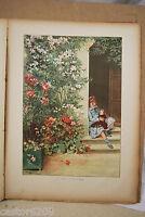 Kunstblatt 19è Farbig Adrien Marie Fillette Doll Typogravure 1886 Gillot