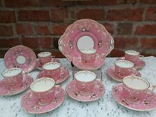 19th Century English porcelain hand painted floral pink ground tea service