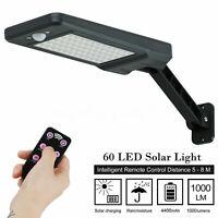 60 LED Solar Wall Street Light Dimmable PIR Motion Sensor Outdoor Garden Lamp US