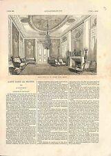 Salon Style Louis XVI Hôtel Double Paris Chaise Fauteuil Louis XIV GRAVURE 1882
