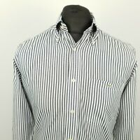Lacoste Mens Vintage Shirt 38 SMALL Long Sleeve White Regular Fit Striped Cotton