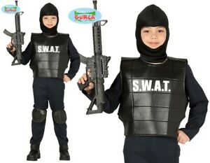 Childs SWAT Fancy Dress Costume Kids Boys Armed Cop Police Outfit fg