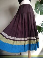 BODEN 10L Beautiful 100% Double Silk Lined Tiered Maxi Skirt Brown Blue. Boho