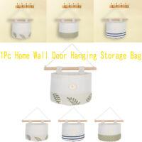 1Pc Wall Door Hanging Storage Bag Cotton Linen Home Organizer Basket Pouch