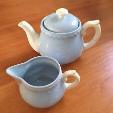 Vintage 1940s HOMER LAUGHLIN KRAFT BLUE Rope Edge Teapot and Creamer Set