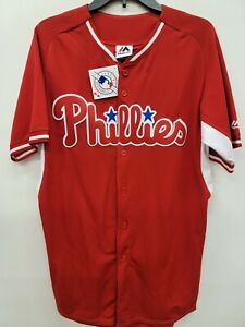 1409-2 Mens Majestic PHILADELPHIA PHILLIES  RED Baseball JERSEY MED $59