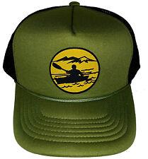 Kayak Canoeing Kayaking  Snapback Mesh Trucker Hat Cap Olive Army