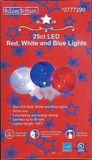 RED, WHITE BLUE LED GLOBE STRING LIGHTS 25 CT~ HOLIDAY'S / PARTIES / BBQ'S ~ NIB