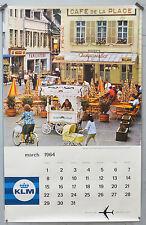 Affiche ancienne - calendrier  . 1964 - KLM Village en France - 102 x 64 cm