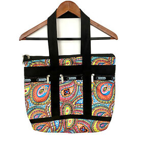 LeSportsac Large Black Multi-Colored Paisley Print Travel Tote Handbag Purse